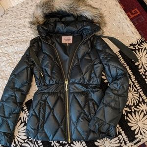 Juicy Couture Quilted Ruffle Puffer Coat